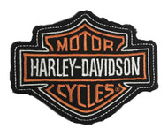 Harley-Davidson Genuine Orange Bar & Shield Frayed Emblem Patch, 4 x 3 inches - Wisconsin Harley-Davidson