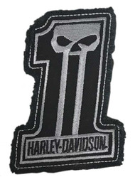 Harley-Davidson Dark Custom #1 Skull Frayed Emblem Patch, 4 x 3 inches - Gray - Wisconsin Harley-Davidson