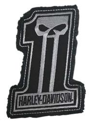 Harley-Davidson Dark Custom #1 Skull Frayed Emblem Patch, 4 x 3 inches - Gray - Wisconsin Harley-Davidson