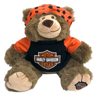 Harley-Davidson Big Ed 12 in. Huggy Stuffed Plush Bear, Black & Orange 9950849 - Wisconsin Harley-Davidson