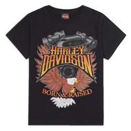 Harley-Davidson Little Boys' Born & Raised Short Sleeve Tee, Black 1580720 - Wisconsin Harley-Davidson