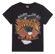 Harley-Davidson Little Boys' Born & Raised Short Sleeve Tee, Black 1580720 - Wisconsin Harley-Davidson