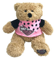 Harley-Davidson Babe 12 in. Huggy Stuffed Plush Bear, Black & Pink 9900851 - Wisconsin Harley-Davidson