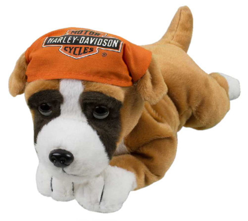 Harley-Davidson Rumble 14 in. Boxer Cuddle Bud Dog, Brown & Orange 9950855 - Wisconsin Harley-Davidson