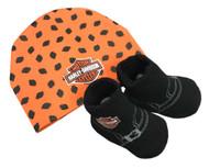 Harley-Davidson Baby Boys' Beanie & Biker Booties Set, Orange & Black 7050879 - Wisconsin Harley-Davidson