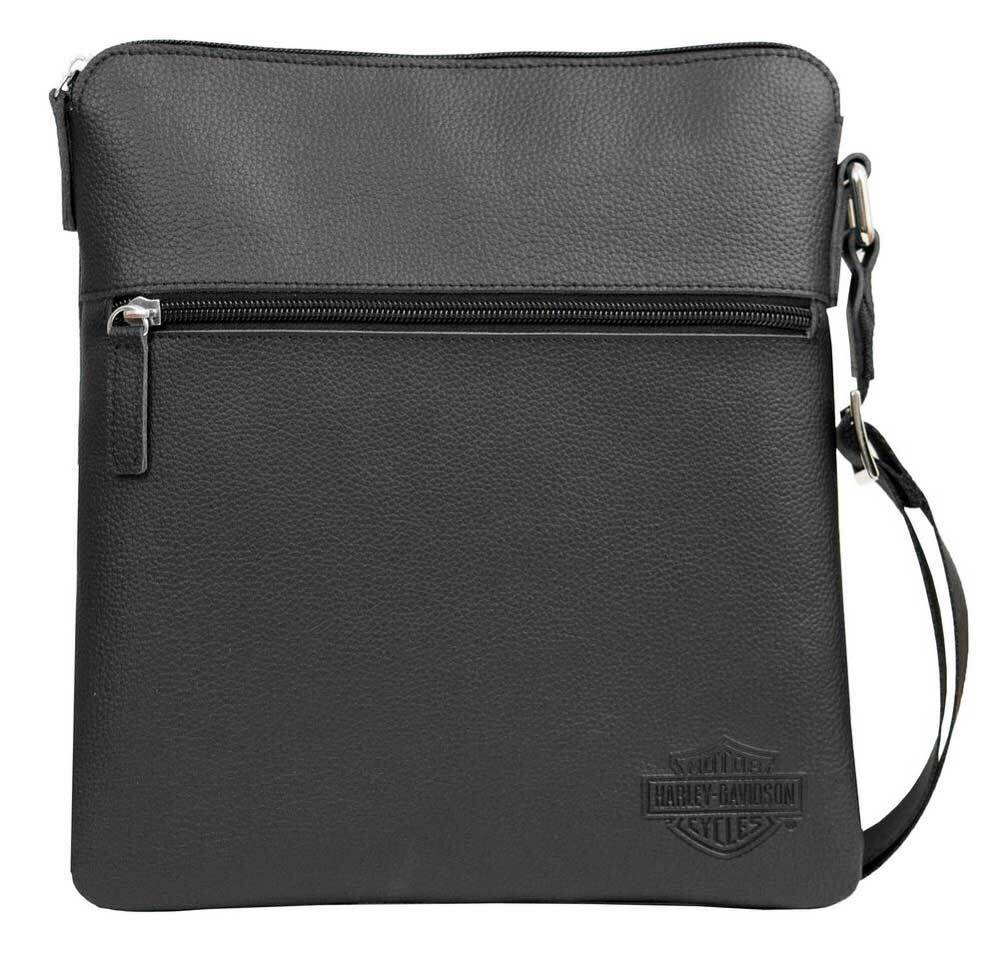 5437fade Harley-Davidson® Men's Bar & Shield Leather Crossbody Bag, Black CC8174L-BLK