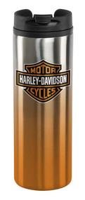 Harley-Davidson Core Bar & Shield Travel Mug - Silver & Orange HDX-98609 - Wisconsin Harley-Davidson