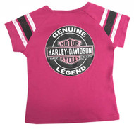 Harley-Davidson Little Girls' Glittery Short Sleeve Jersey Tee, Pink 1031825 - Wisconsin Harley-Davidson