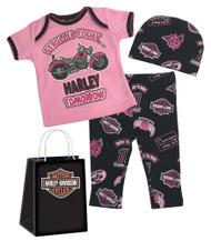 Harley-Davidson Baby Girls' Glittery 3 Piece Gift Set w/ Gift Bag, Pink 2501813 - Wisconsin Harley-Davidson