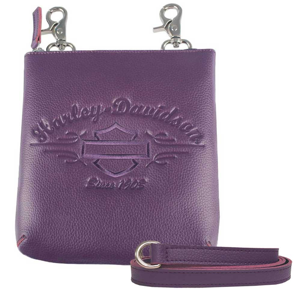 Harley-Davidson Women s Purple Script Embossed Vertical Hip Bag  LSE6163-PURPLE - Wisconsin Harley 316f06be8