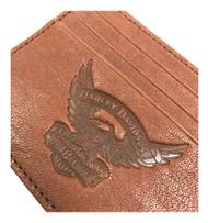 Harley-Davidson Men's Eagle Embossed Leather Front Pocket Wallet EE9076L-SCOTCH - Wisconsin Harley-Davidson