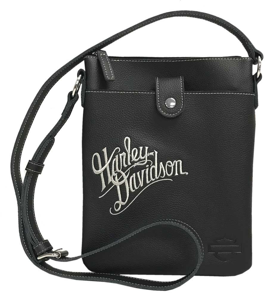 21334d69d8cd Harley-Davidson® Women's H-D Embroidery Vertical Crossbody Purse  ZWL1314-CRMBLK