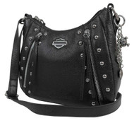 Harley-Davidson Women's Studded Rider Leather Crossbody Purse RD4927L-BLACK - Wisconsin Harley-Davidson