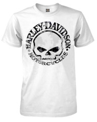 Harley-Davidson Men's Handmade Willie G Skull Short Sleeve T-Shirt, White - Wisconsin Harley-Davidson