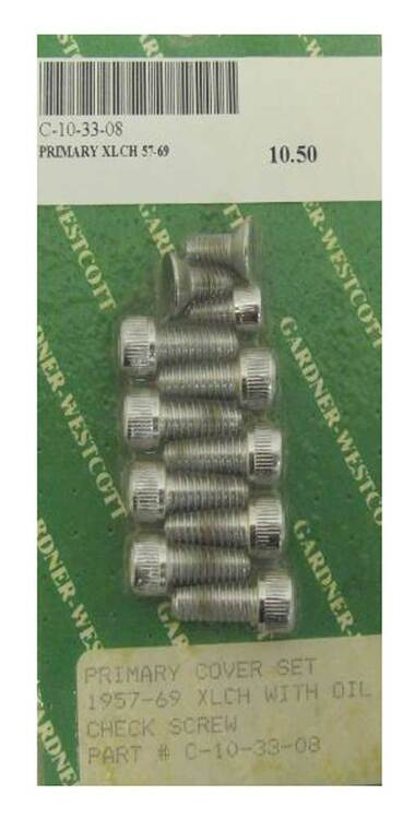 Gardner & Westcott Primary Cover Set w/ Oil Check Screws, Chrome C-10-33-08 - Wisconsin Harley-Davidson