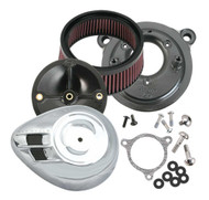S&S Cycle Stealth Air Cleaner Kit w/ Air Stream Teardrop Cover, Chrome 170-0054 - Wisconsin Harley-Davidson