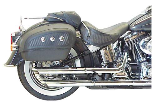 D&D Slash Cut Slip-On Mufflers, Fits 07-15 FLSTN Models, Chrome 528-12S - Wisconsin Harley-Davidson