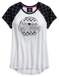 Harley-Davidson Women's Checkered Raglan Short Sleeve Tee, White 96144-18VW - Wisconsin Harley-Davidson