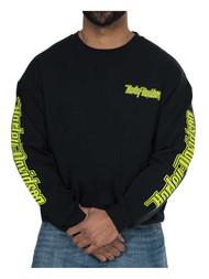 Harley-Davidson Men's Neon Gas Alley Crew-Neck Pullover Fleece Sweatshirt, Black - Wisconsin Harley-Davidson