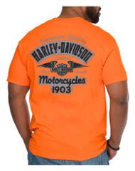 Harley-Davidson Men's Certified Winged B&S Short Sleeve T-Shirt - Orange - Wisconsin Harley-Davidson
