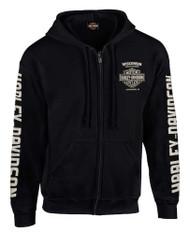 Harley-Davidson Men's Dagger Skull Distressed Full-Zip Hooded Sweatshirt - Black - Wisconsin Harley-Davidson