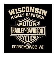 Harley-Davidson Men's Vintage Flag Crew-Neck Short Sleeve T-Shirt - Black - Wisconsin Harley-Davidson