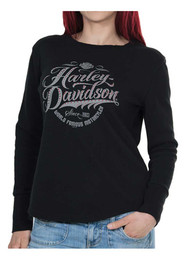 Harley-Davidson Women's Famous Long Sleeve Thermal Tee w/ Thumbholes, Black - Wisconsin Harley-Davidson