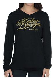 Harley-Davidson Women's Warp Speed Metallic Ink Long Sleeve Tee - Black - Wisconsin Harley-Davidson
