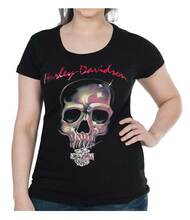 Harley-Davidson Women's Bling Skull Foiled Short Sleeve Scoop Neck Tee, Black - Wisconsin Harley-Davidson