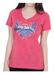 Harley-Davidson Women's Foil Printed Reflective Wings Short Sleeve Tee, Red - Wisconsin Harley-Davidson
