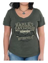 Harley-Davidson Women's Eagle Seal Short Sleeve Loop Button Tee, Olive Green - Wisconsin Harley-Davidson