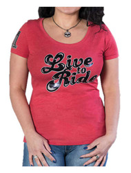 Harley-Davidson Women's Moxie 'Live To Ride' Short Sleeve Scoop Neck Tee - Red - Wisconsin Harley-Davidson