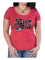 Harley-Davidson Women's Moxie 'Live To Ride' Short Sleeve Scoop Neck Tee - Red - Wisconsin Harley-Davidson