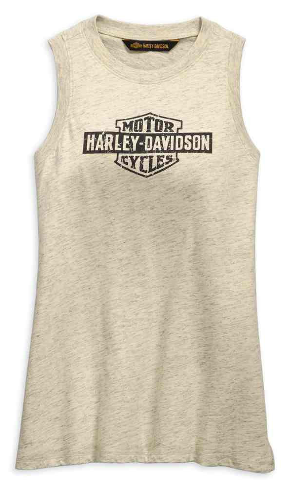 Harley Davidson Womens Distressed Logo Tank Top Off White 99255
