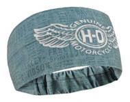 Harley-Davidson Women's Winged In Fight Headband Scrunchie, Steel Blue HE31727 - Wisconsin Harley-Davidson