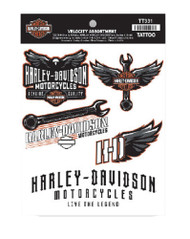 Harley-Davidson Velocity Assortment Temporary Tattoos, 5 Total Tattoos TT331 - Wisconsin Harley-Davidson