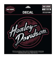 Harley-Davidson Edgy H-D Decal, MD Size 6 x 4.625 in., Black & Burgundy DC321363 - Wisconsin Harley-Davidson