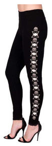 Harley-Davidson Women's XO Willie G Skull / B&S Embellished Leggings, Black - Wisconsin Harley-Davidson
