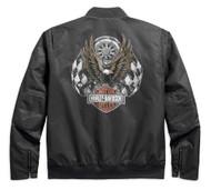 Harley-Davidson Men's Checkered Flag Eagle Bomber Jacket, Gray 97455-18VM - Wisconsin Harley-Davidson