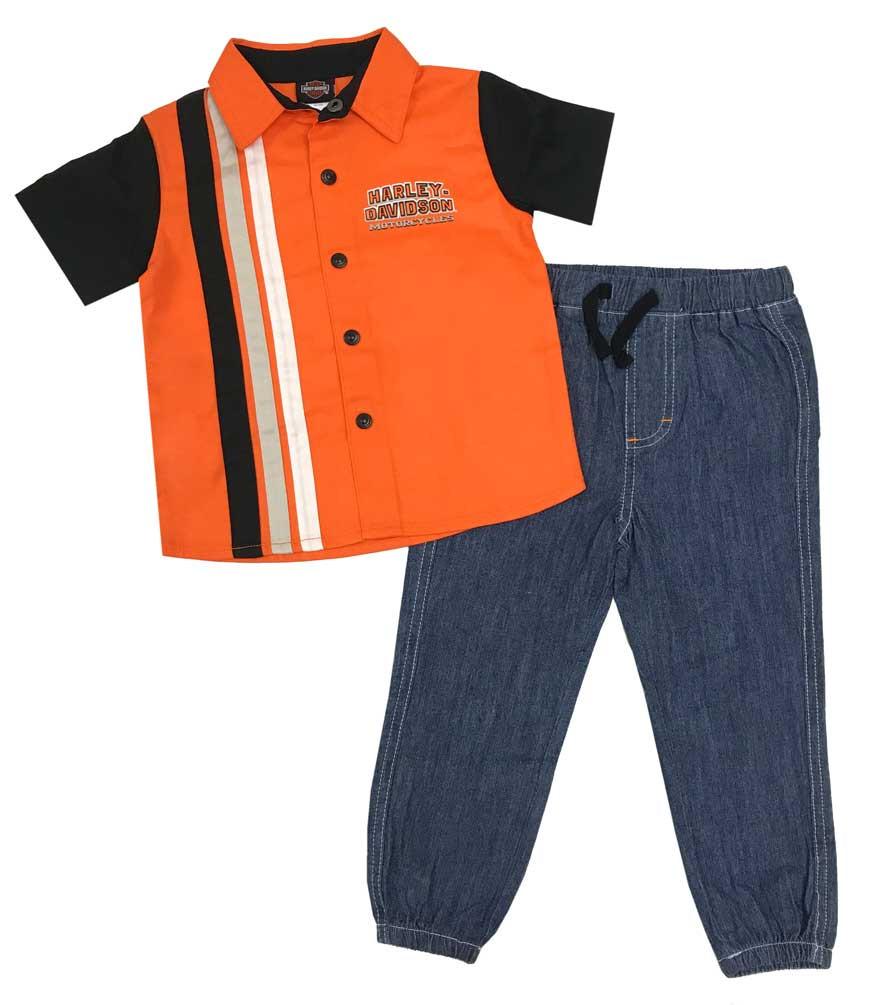 4caca18bc Harley-Davidson Baby Boys' Shop Shirt & Denim Pants 2-Piece Infant Set.  Click to enlarge