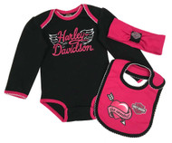Harley-Davidson Baby Girls' 3-Piece Infant Creeper, Headband & Bib Set 2513821 - Wisconsin Harley-Davidson
