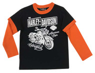 Harley-Davidson Little Boys' Long Sleeve Double Jersey T-Shirt, Black 1073863 - Wisconsin Harley-Davidson