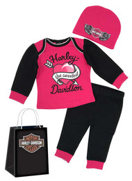 Harley-Davidson Baby Girls' Glittery 3-Piece Gift Set w/ Gift Bag, Pink 2503817 - Wisconsin Harley-Davidson