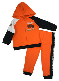 Harley-Davidson Little Boys' 2-Piece Fleece Jogger Set, Orange & Black 2073811 - Wisconsin Harley-Davidson