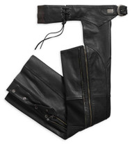 Harley-Davidson Women's Deluxe II Midweight Leather Chaps, Black 98046-19VW - Wisconsin Harley-Davidson