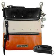 Harley-Davidson Women's Orange Colorblock Leather Vertical Hip Bag/Crossbody - Wisconsin Harley-Davidson