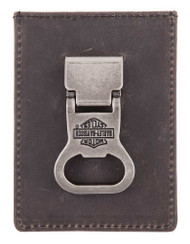 Harley-Davidson Men's Spare Parts Bottle Opener Leather Card Case HDMWA11096 - Wisconsin Harley-Davidson