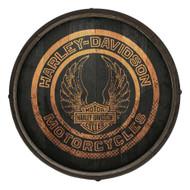Harley-Davidson Distressed Winged Wooden Barrel End Sign BE-EAG-CIRCLE-HARL - Wisconsin Harley-Davidson