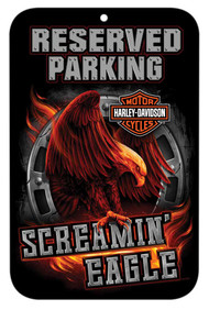 Harley-Davidson Screamin' Eagle Fiery Eagle Parking Sign, 17 x 11in HARLNV011400 - Wisconsin Harley-Davidson