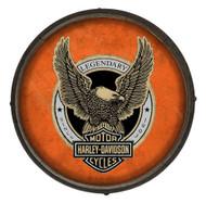 Harley-Davidson Up-Winged Eagle Wooden Barrel End Sign - Orange BE-EAG-OR-HARL - Wisconsin Harley-Davidson